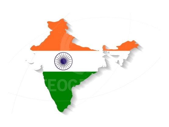 India flag map with shadow effect