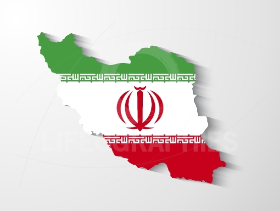 Iran map with shadow effect presentation