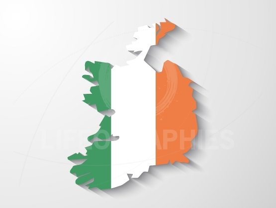 Ireland  country map with shadow effect presentation