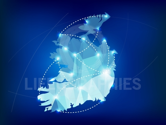 Ireland country map polygonal with spot lights places