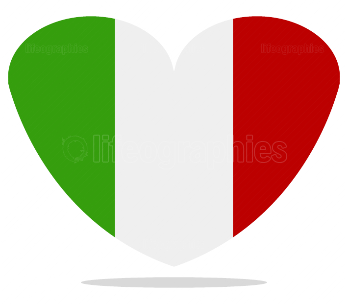 italy flag with heart