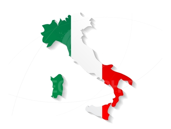 Italy map with shadow effect