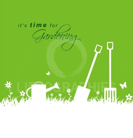 It's time for gardening .Spring gardening background with spade,