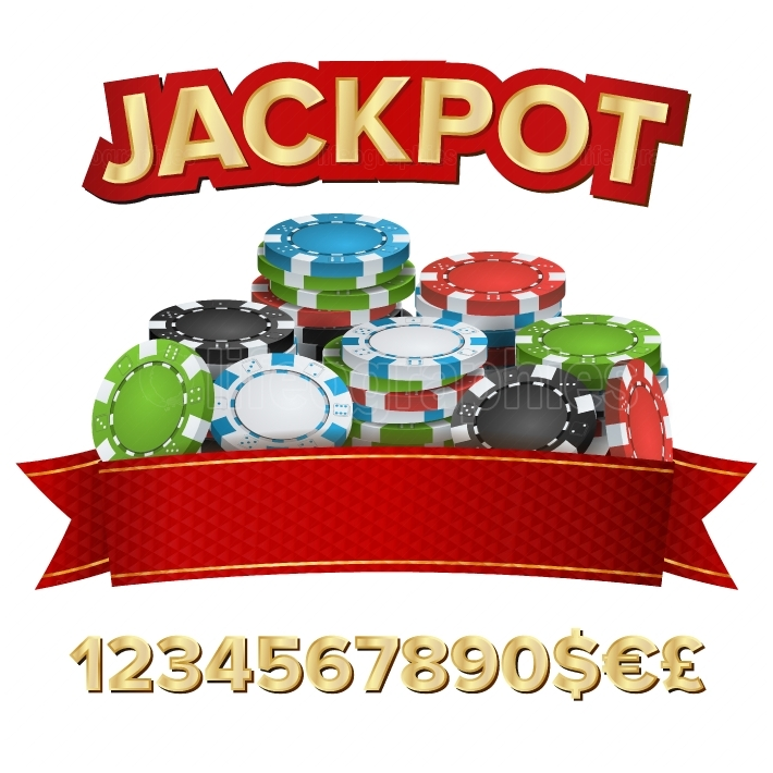 Jackpot Winner Background Vector  Gambling Poker Chips Illustration  For Online Casino, Card Games, Poker, Roulette  Isolated