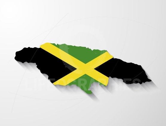 Jamaica country map with shadow effect presentation