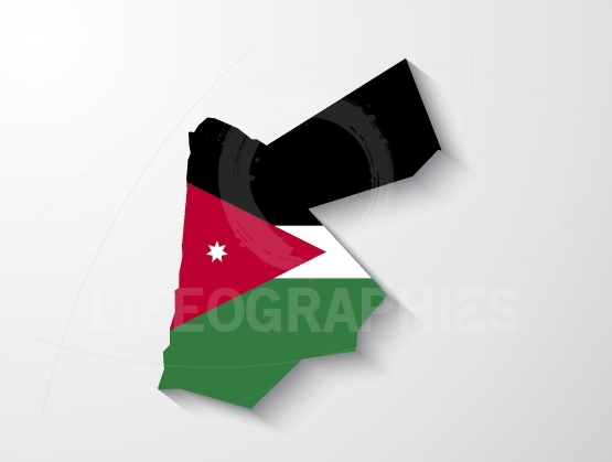 Jordan country map with shadow effect presentation