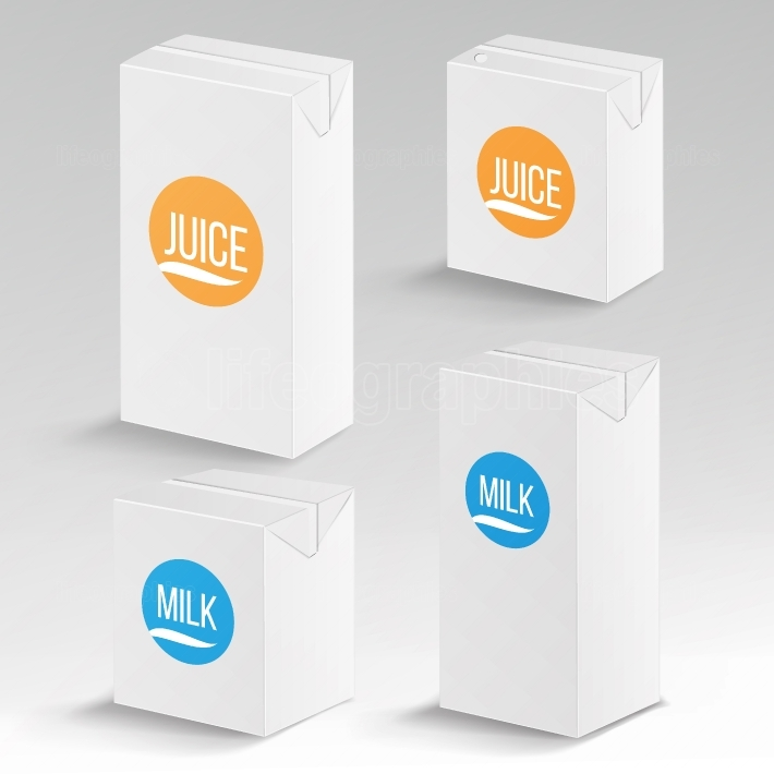 Juice and Milk Package Vector Realistic Mock Up Template  Carton Branding Box 1000 ml and 200 ml  White Empty Clean Cardboard Package Drink Small Juice, Milk Box Blank Isolated  Vector Illustration