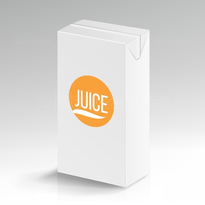 Juice Package Vector Realistic Mock Up  Carton Branding Box 1000 ml  White Empty Clean Cardboard Package Drink Juice Box Blank  Vector Illustration