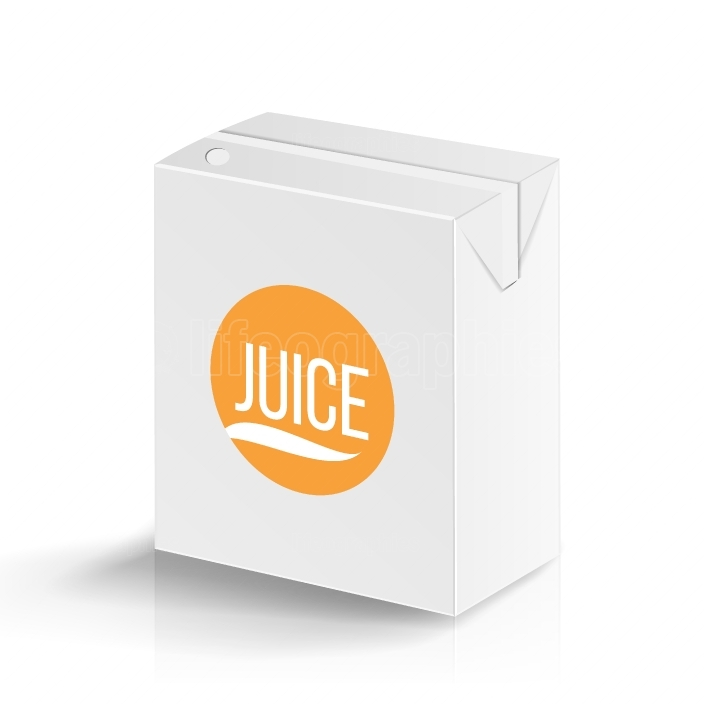 Juice Package Vector Realistic Mock Up Template  Carton Branding Box 200 ml  White Empty Clean Cardboard Package Drink Small Juice Box Blank Isolated  Vector Illustration