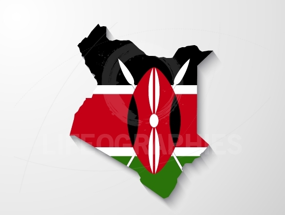 Kenya country map with shadow effect presentation