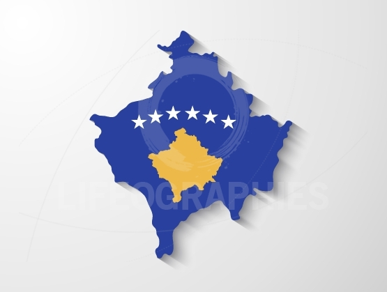 Kosovo country map with shadow effect presentation