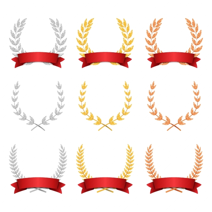 Laurel Wreath Trophy Set Vector  Award Placement Achievement  Realistic Gold Silver Bronze Laurel Wreath  Red Ribbon  Winner Honor Prize  Isolated Illustration
