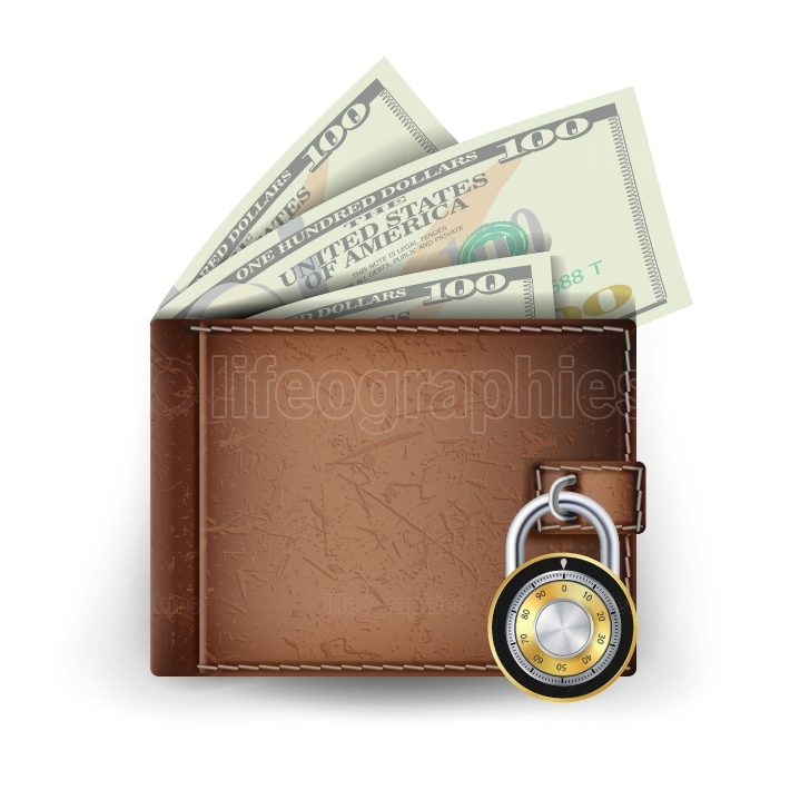 Leather Wallet Vector  Locked With Combination Lock  Modern Finance Secure Concept  Isolated Illustration