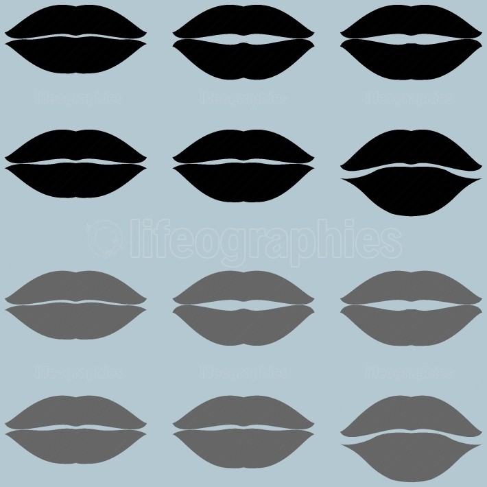 Lips black and grey twelve items