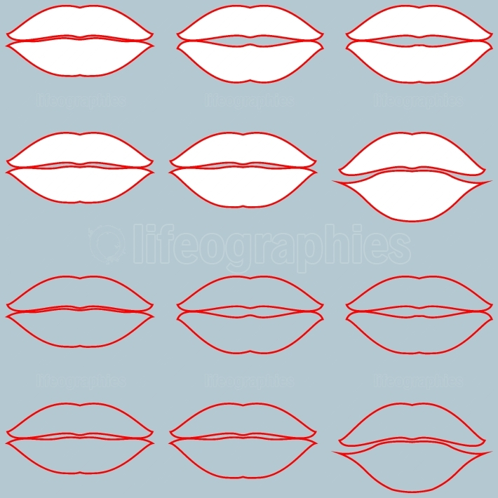 Lips white with red path and only red path without fill twelve items