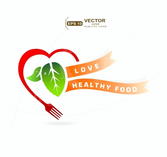 Love healthy food concept