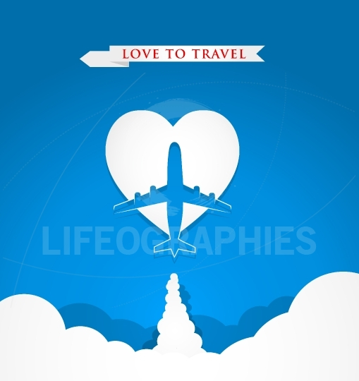 Love travel concept with airplane on heart shape on blue backgro