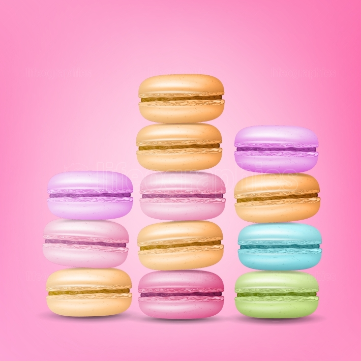 Macarons Set Vector  Colourful Sweet French Macaroons On Pink Background Illustration