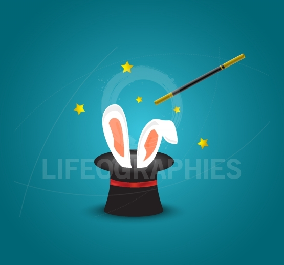 Magic hat with rabbit ears.Magic trick with rabbit ears appear from the magic top hat