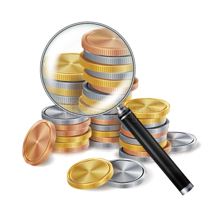 Magnifier And Coin Vector  Metal coins  Success Finance Banking Illustration