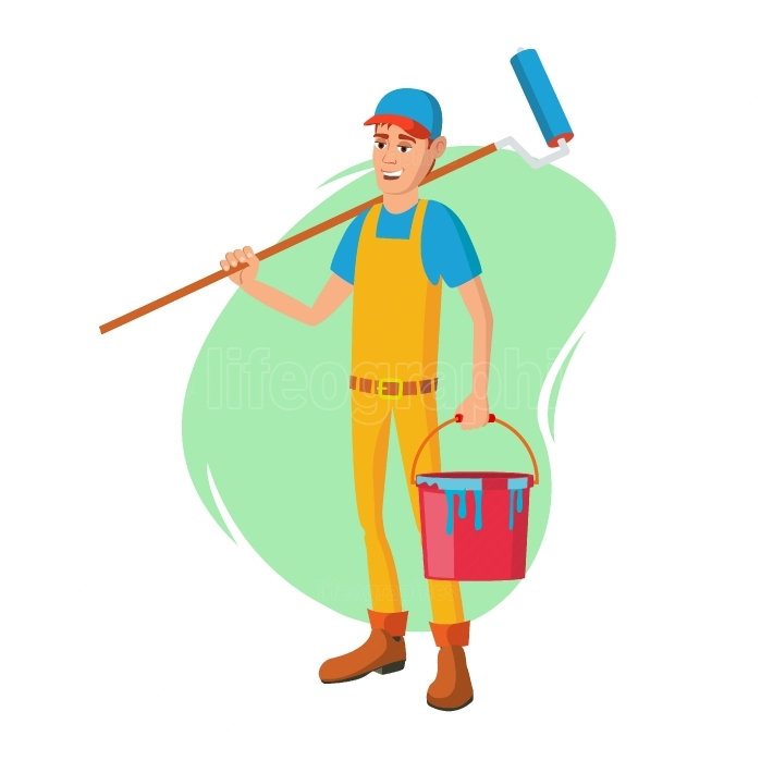 Male House Painter Vector  Classic Paintbrush  Paint Concept Of House Renovation  Cartoon Character Illustration