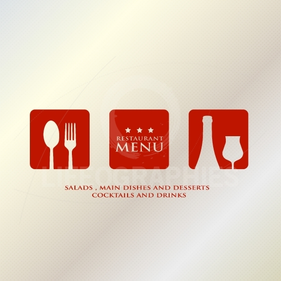 Menu design presentation in metallic background