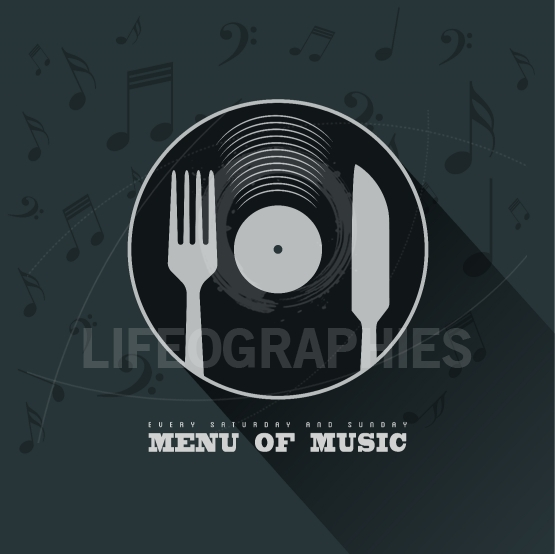 Menu of Music with vinyl, knife ,fork and musical notes  backgro