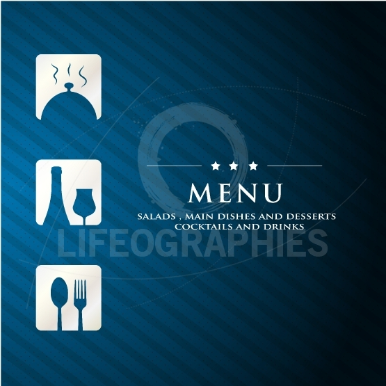 Menu Restaurant presentation with  blue background