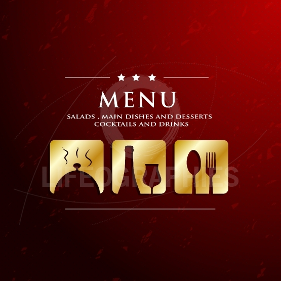 Menu restaurant with golden icon in ground background
