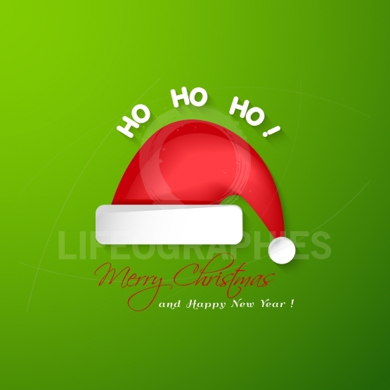 Merry Christmas and Happy New Year greeting card.Santa Claus red