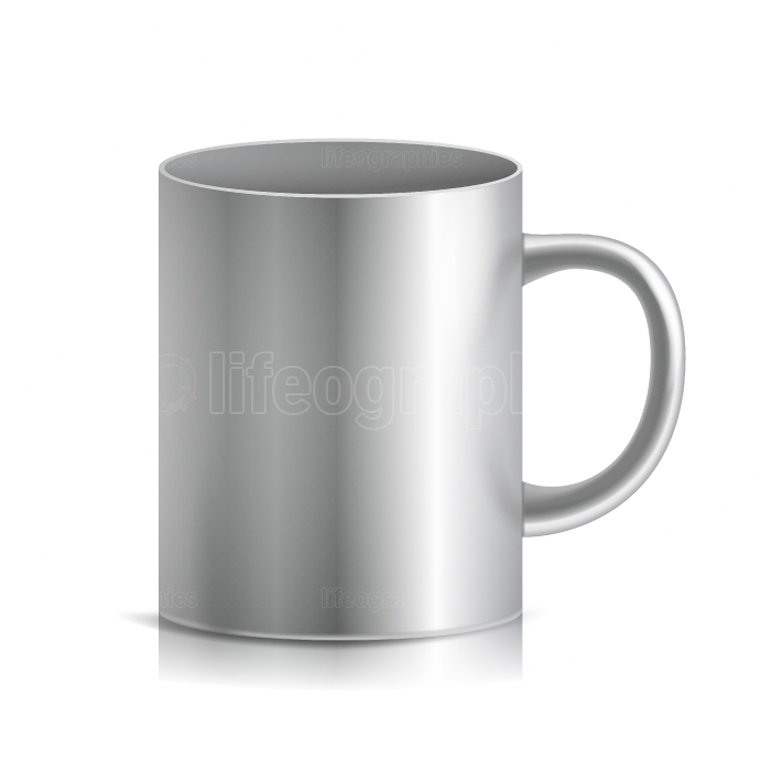 Metal Cup, Mug Vector  3D Realistic Metallic Chrome, Silver Cup Isolated On White Background  Classic Mug With Handle Illustration  For Business Branding