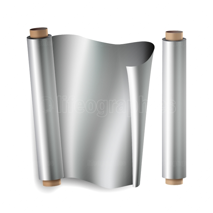 Metal Foil Paper Roll Vector  Close Up Top View  Opened And Closed  Realistic Illustration Isolated On White