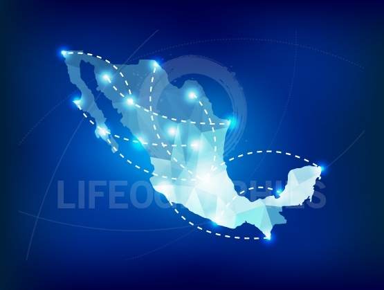 Mexico country map polygonal with spot lights places
