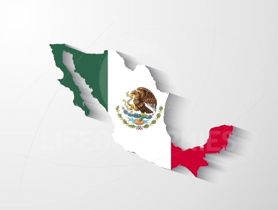Mexico map with shadow effect
