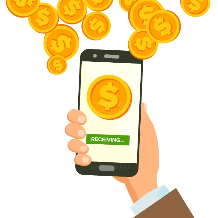 Mobile Dollar Receiving Concept Vector  Human Hand Banner  Wireless Dollar Finance Receiving Concept  Currency In Smartphone Application  Isolated Illustration