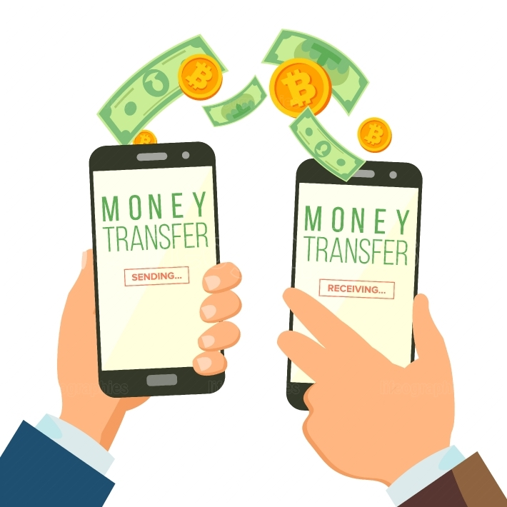 Mobile Money Transferring Banking Concept Vector  Hand Holding Smartphone  Dollar And Bitcoin  Wireless Finance Sending And Receiving  Modern Finance Economic  Isolated Illustration