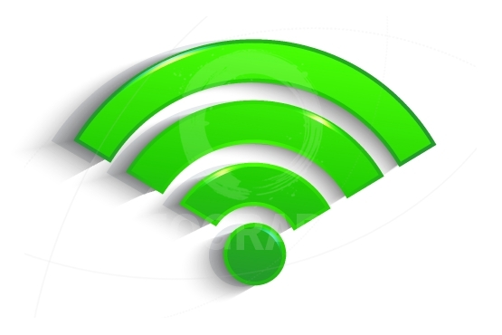 Modern green 3d  WiFi symbol with shadow effect isolated on whit