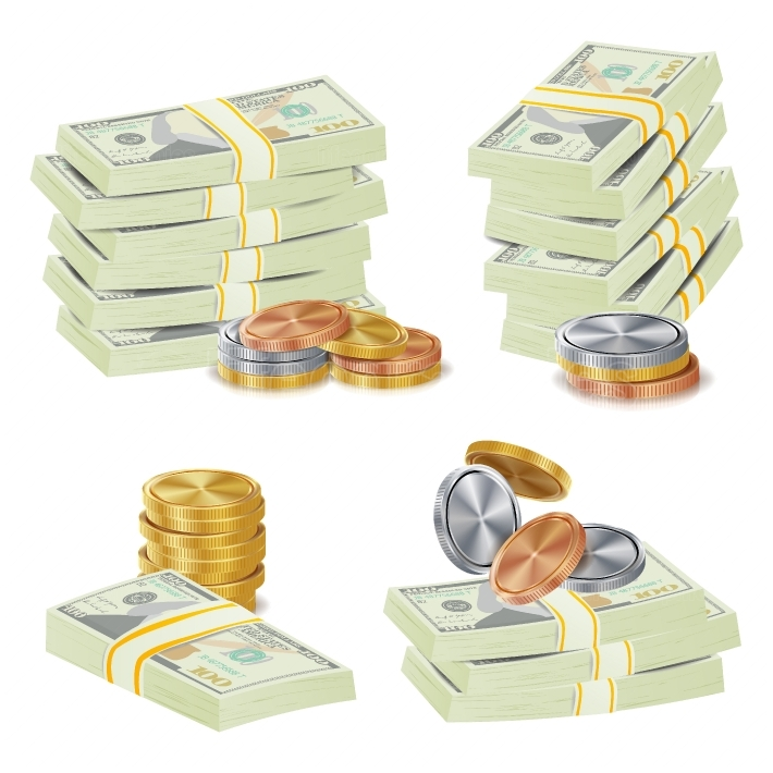 Money Banknotes Stacks Vector  3D Cash, Gold Coins, Banknotes Piles Illustration