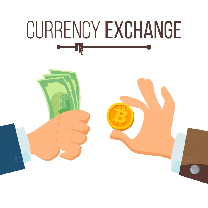 Money Currency Exchange Concept Vector  Dollar And Bitcoin  Finance  Isolated Illustration
