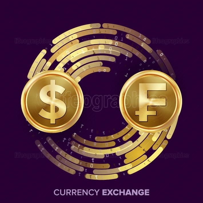 Money Currency Exchange Vector  Dollar, Franc  Golden Coins With Digital Stream  Conversion Commercial Operation For Business Investment, Travel  Financial Or Banking Concept Illustration