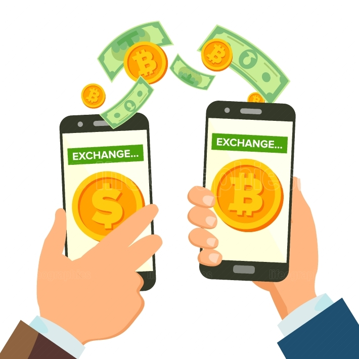 Money Exchange Banking Concept Vector  Human Hand Banner  Hand Holding Smartphone  Mobile Smart Phone And Hands  Dollar And Bitcoin  Wireless Finance Sending  Isolated Illustration