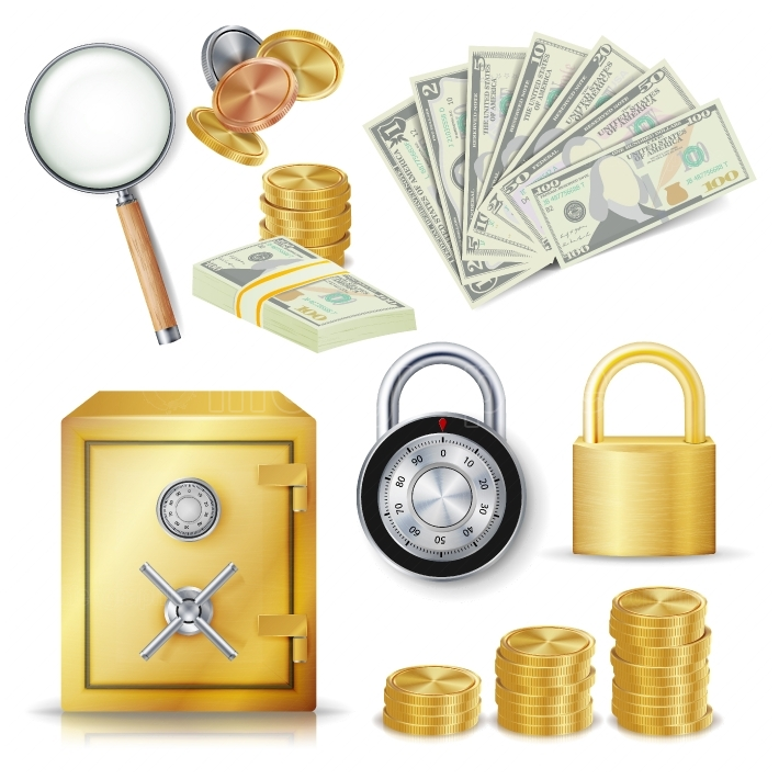 Money Secure Concept Vector  Gold Metal Coins, Money Banknotes Stacks, Encryption Padlock, Safe