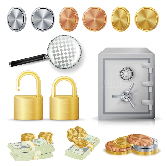 Money Secure Concept Vector  Gold, Silver, Copper Metal Coins, Money Banknotes Stacks