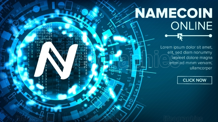 Namecoin Abstract Technology Background Vector  Binary Code  Fintech Blockchain  Cryptography  Cryptocurrency Mining Concept Illustration