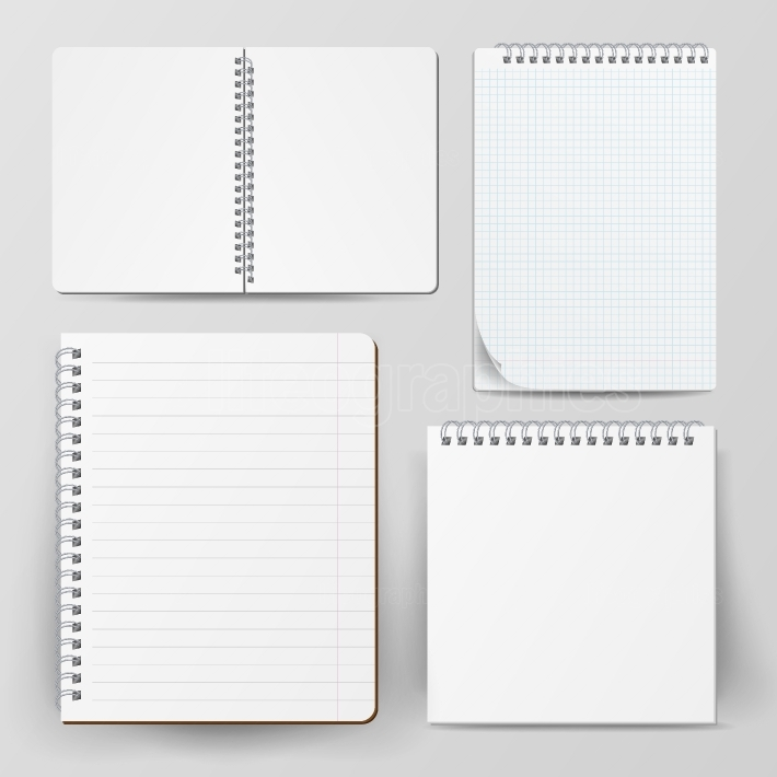 Notebook Set With Coil Spiral  Vector Spiral Notepad  Clean Mock Up For Your Design  Vector illustration