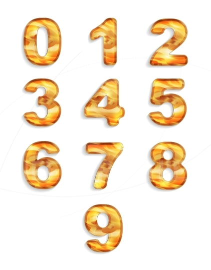 Numbers icon set with wood texture isolated on white background