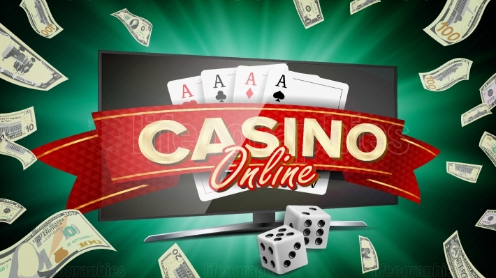 Online Casino Banner Vector  Realistic Computer Monitor  Winner Lucky Symbol  Jackpot Casino Billboard, Signage, Marketing Luxury Poster Illustration