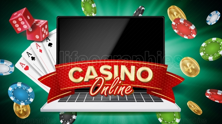 Online Casino Banner Vector  Realistic Laptop  Gambling Casino Banner Sign  Explosion Chips, Playing Dice  Illustration