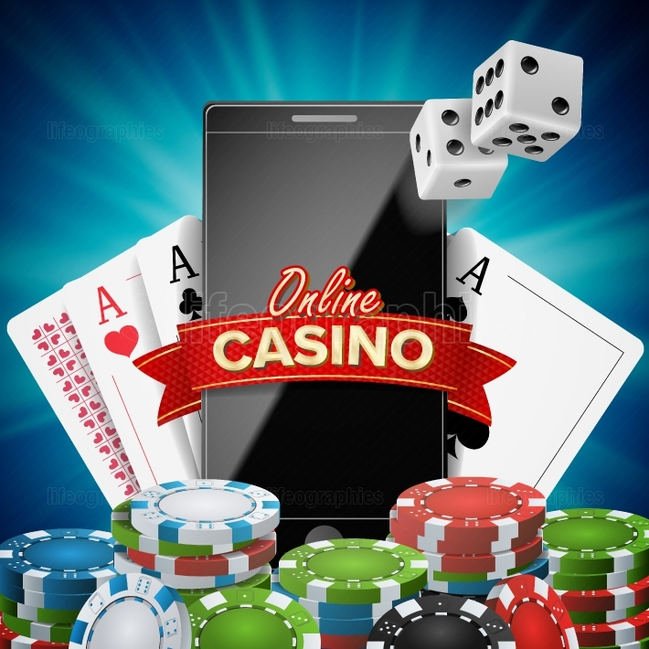 Online Casino Banner Vector  Realistic Smart Phone  Explosion Bright Chips, Playing Dice, Dollar Banknotes  Winner Symbol  Jackpot Billboard, Luxury Banner Illustration