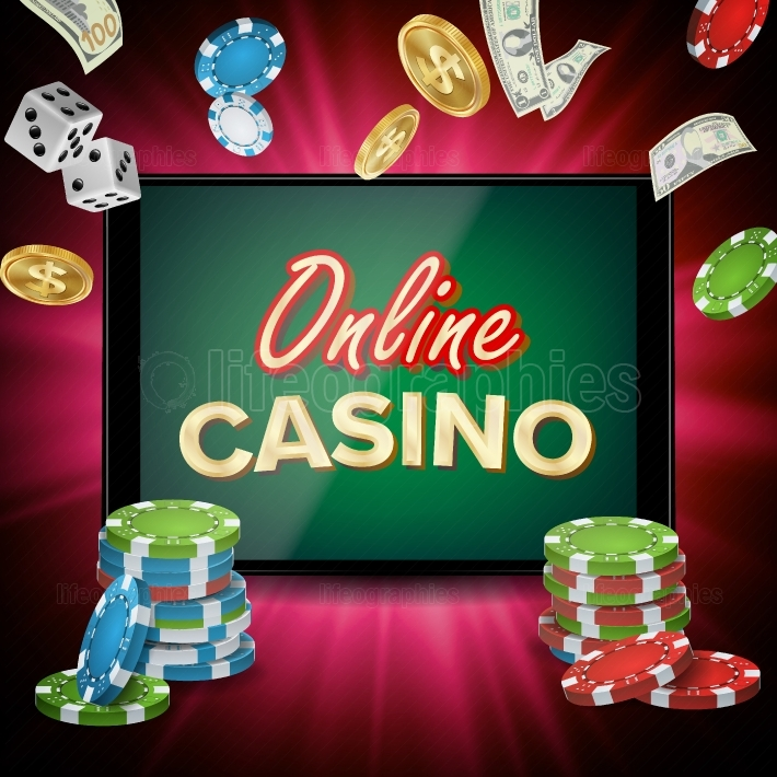 Online Casino Banner Vector  Realistic Tablet  Flying Dollar Coins